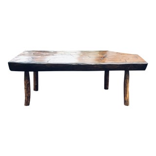 1970s Rustic Modern Hand Crafted Live Edge Coffee Table For Sale