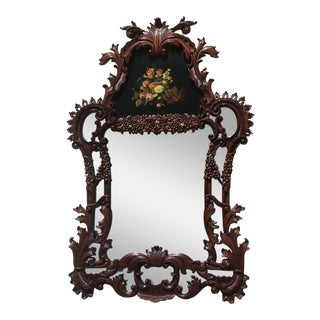 Maitland Smith Floral Design Wood Frame Trumeau Mirror For Sale