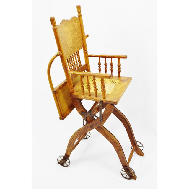 Antique Adjustable Child's High Chair and Stroller Combination- Cane Seat  For Sale - Image 4 - Antique Adjustable Child's High Chair And Stroller Combination- Cane