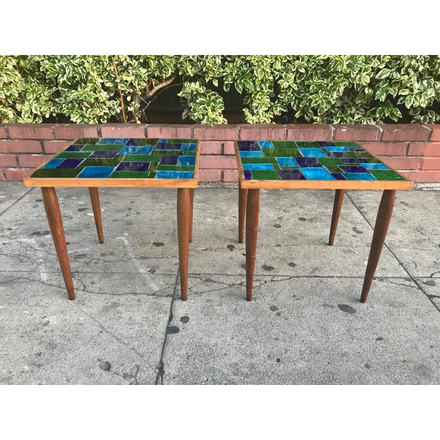 Contemporary Mid Century Georges Briard Mosaic Glass Tables - a Pair For Sale - Image 3 of 12