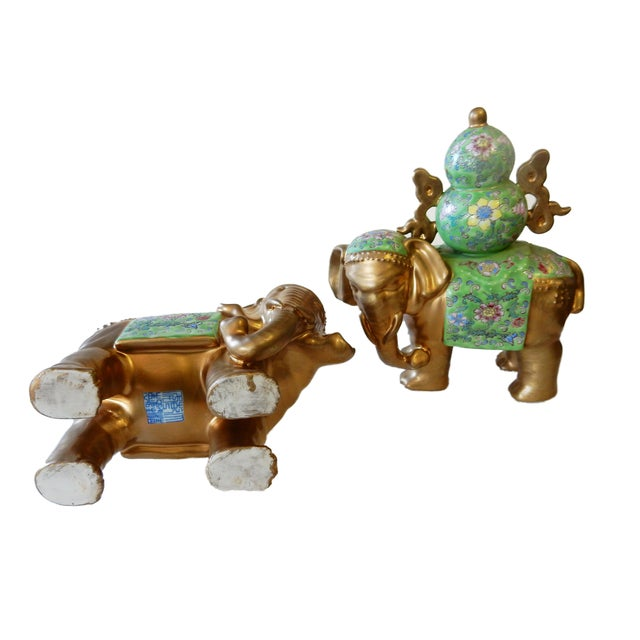 Green Famille Verte Style Elephants - a Pair For Sale - Image 8 of 10