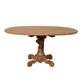 19th Century Italian Oval Pedestal Table For Sale