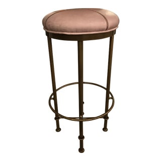 Rustic Gray Leather Bar Stool
