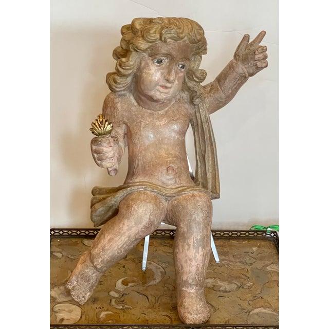 Wood Antique Carved Italian Cherub Angel Putti Figure Sculpture For Sale - Image 7 of 7