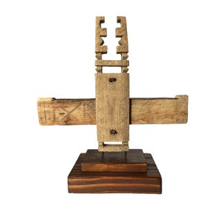 """Rare Old Dogon Door Lock on Stand 14.5"""" H For Sale"""