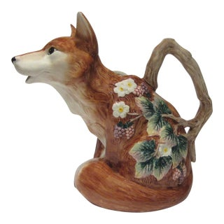Vintage Fitz & Floyd Majolica Fox Themed Pitcher For Sale