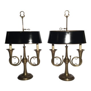 Vintage Chapman French Horn Lamps - a Pair For Sale