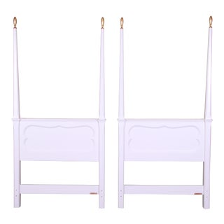Baker Furniture French Provincial White Lacquered Twin Headboards, Newly Refinished For Sale