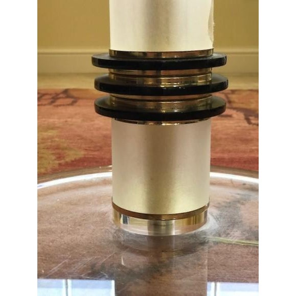 1960s Vintage 1960's Mid Century Modern Brass and Lucite Bauer Torchiere Floor Lamp For Sale - Image 5 of 9