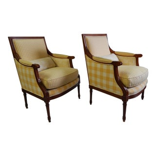 Baker Yellow Upholstered Arm Chairs - a Pair