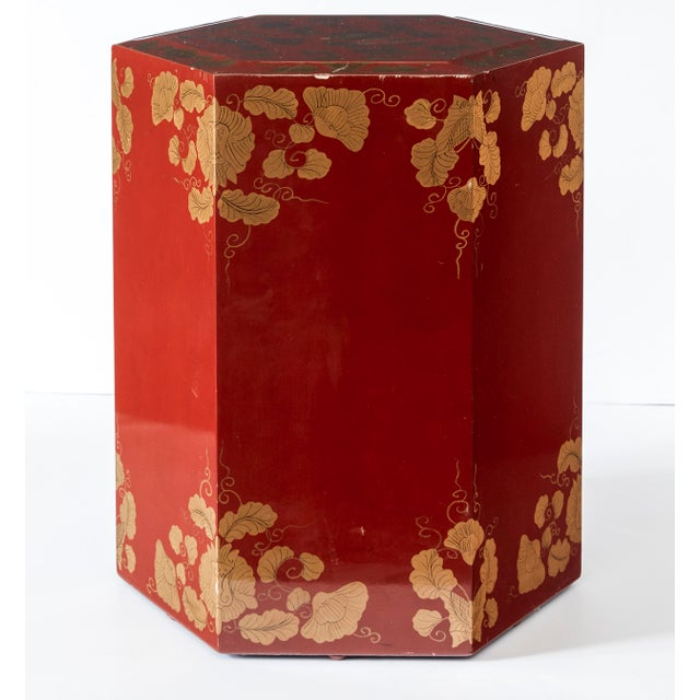 Red and gold lacquered side tables or pedestals. Great for displaying sculptures or as side tables.