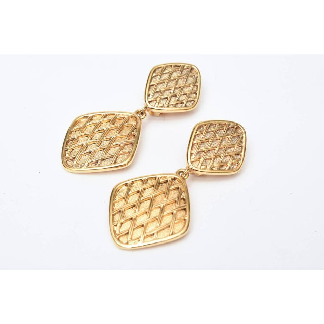 Chanel Chanel Marked Double Criss Cross Hanging Clip on Earrings - a Pair For Sale - Image 4 of 9