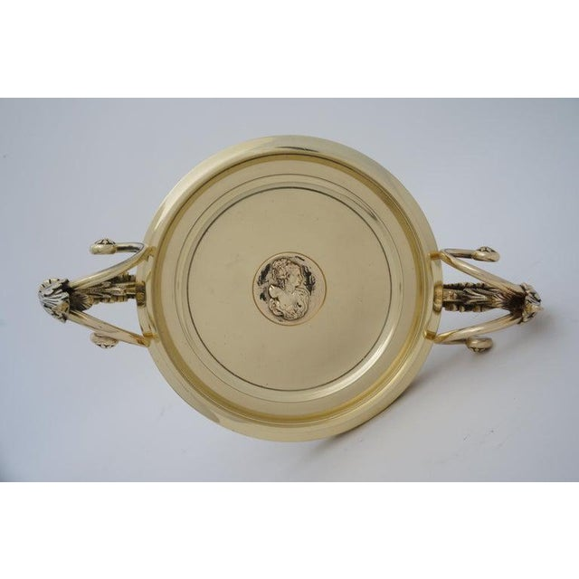 Antique Tazza Bronze on a Gray Marble Base - Neoclassical Ornamental Bowl on Pedestal For Sale - Image 9 of 11