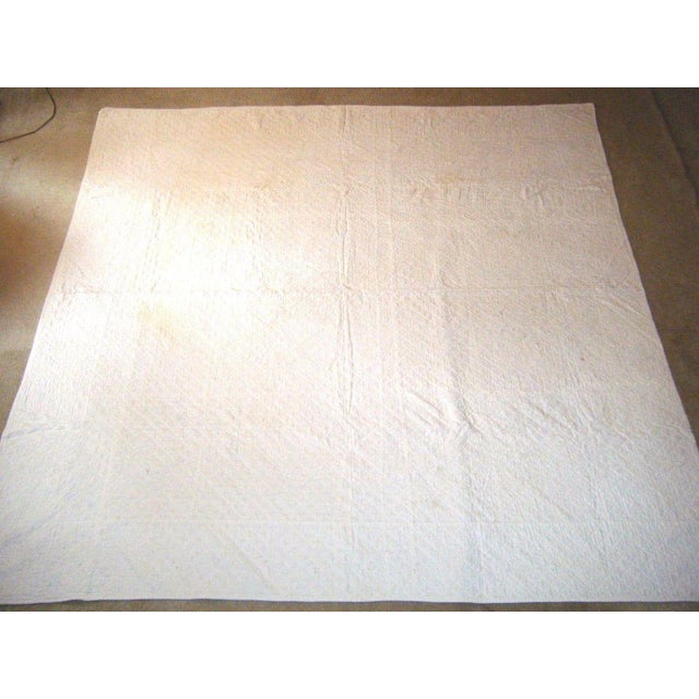 Up for offer here is a rare, fine and superb all white on white antique, 19th century, 1800's, hand stitched Pennsylvania...