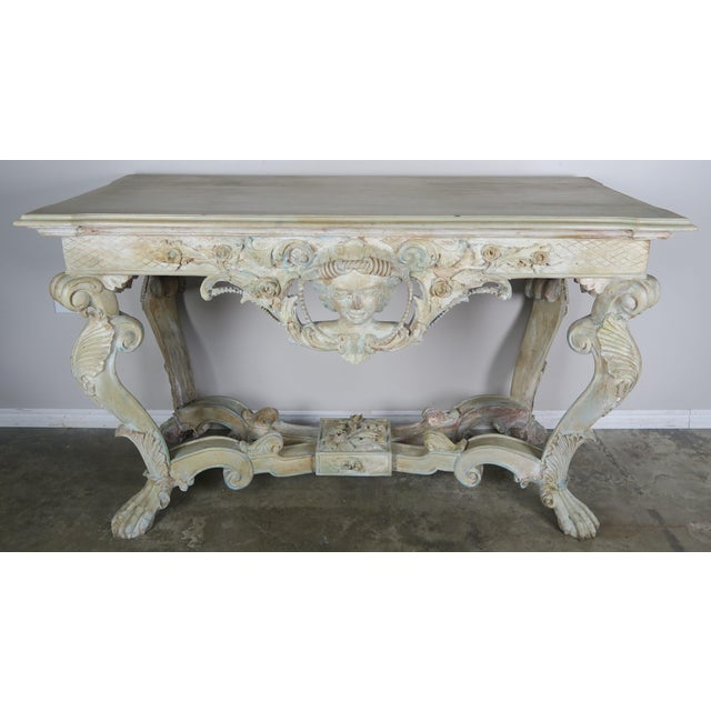 Early 20th Century French Carved Painted Console Table For Sale - Image 12 of 12