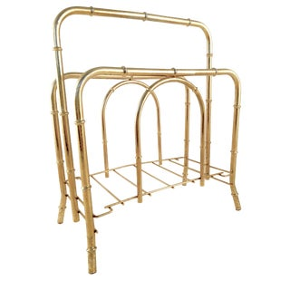 1950s Hollywood Regency Brass Faux Bamboo Magazine Rack For Sale