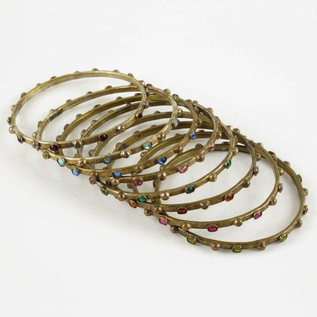 Gorgeous French Jewelry designer Henry Perichon, set of 8 gilt bronze spacers bracelet bangle. Featuring a Renaissance...