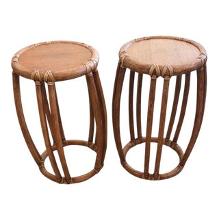 McGuire Round Wood and Rattan Trimmed Tables - a Pair For Sale