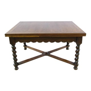 Antique French Rectangular Extending Barley Twist Oak Dining Table