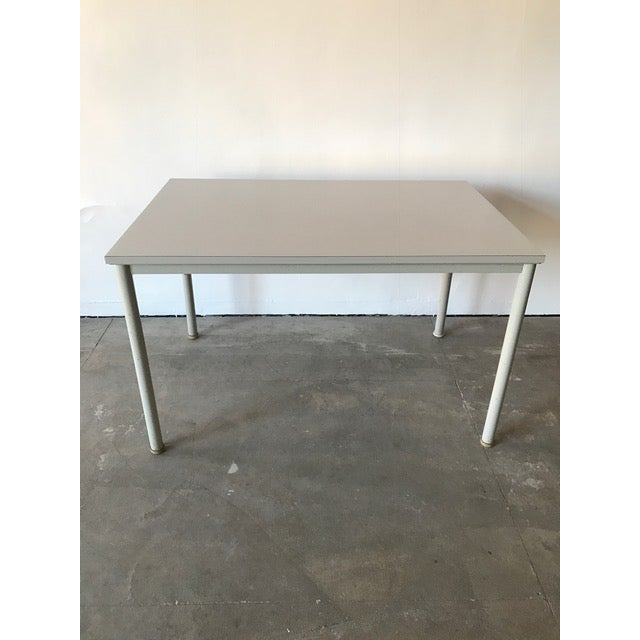 """Grey lacquered steel and wood desk/table by Le Corbusier for the Pavillion Suisse Universitaire in Paris/1935. """"an..."""