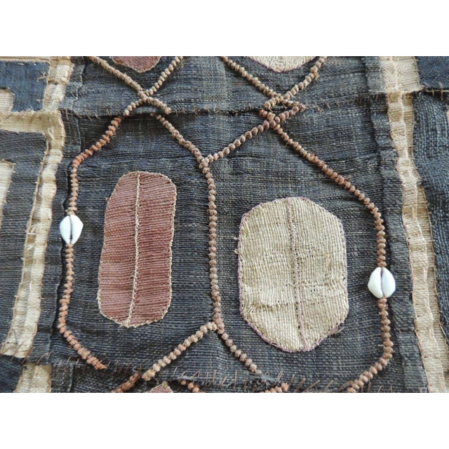 African Vintage Brown and Black Earth Tones African Applique Kuba Textile Fragment For Sale - Image 3 of 5