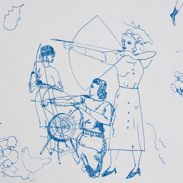 Contemporary Schumacher x Peg Norris: Jackie Gendel Toile De Femmes Wallpaper in Indigo For Sale - Image 3 of 7