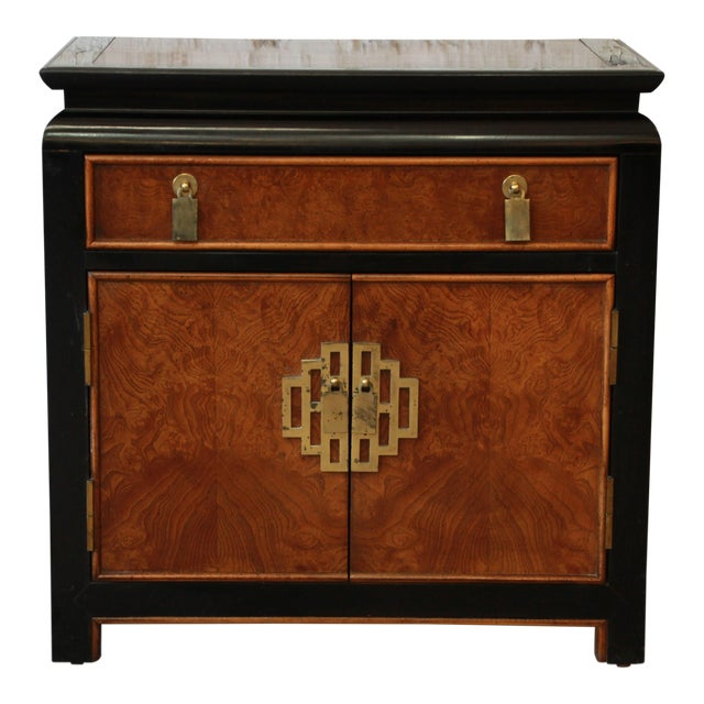 Century Furniture Chin Hua Black Lacquer & Burlwood Nightstand - Image 1 of 9