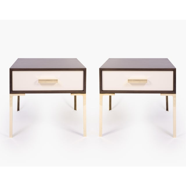 Astor Nightstands in Contrasting Ebony & Ivory by Montage - Pair - Image 2 of 11