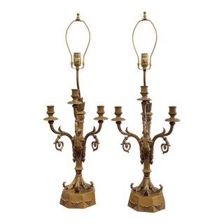Pair of Hollywood Regency Candelabra Lamps W Trumpet Playing Putti - Paris Foundry For Sale