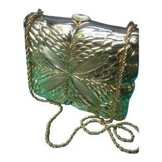 Saks Fifth Avenue Italian Gilt Metal Minaudiere Evening Bag For Sale