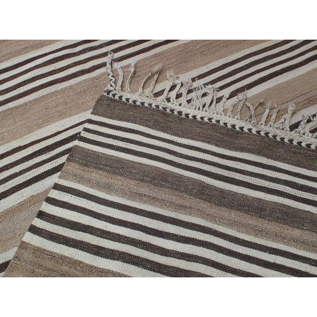 Striped Kilim Wide Runner in Natural Brown For Sale - Image 9 of 9