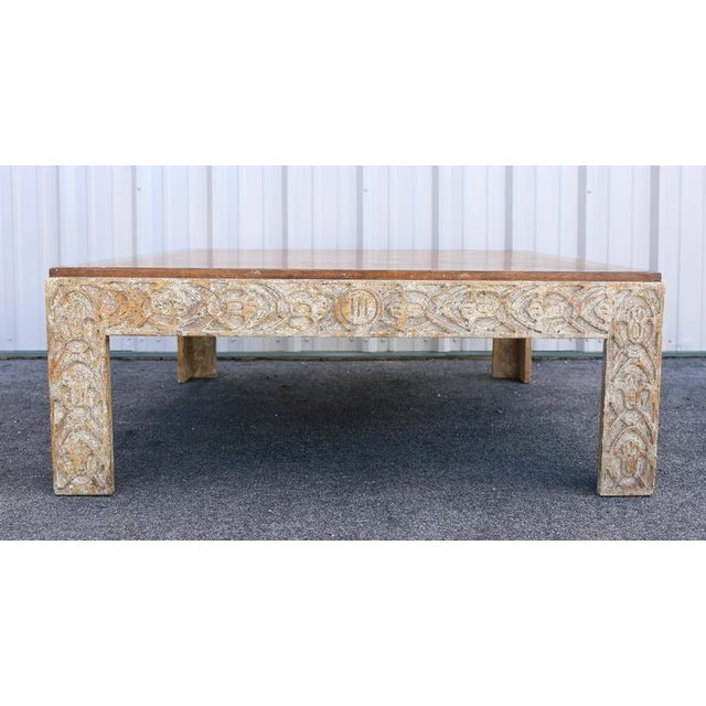 Parquetry Top Painted Square Coffee Table For Sale - Image 4 of 9