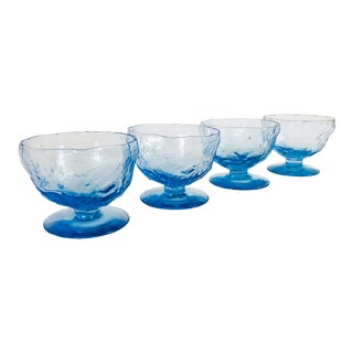 Vintage Periwinkle Crinkle Coupe Glasses - Set of 4 For Sale