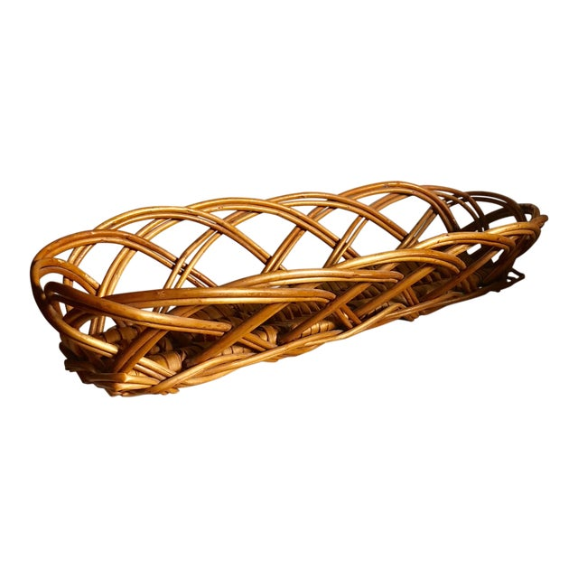 French Vintage Baguette Basket For Sale