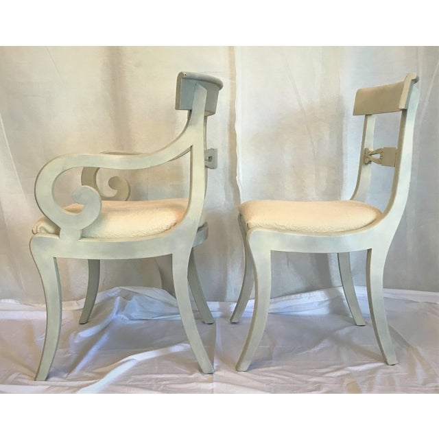 Cotton 1940s Gustavian Ivory Klismos Dining Chairs - Set of 6 For Sale - Image 7 of 10