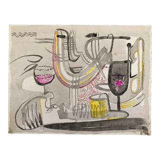 1973 Original Watercolor by Robert Lohman - Abstract Figure With Wine For Sale