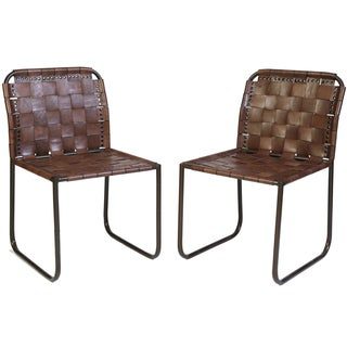 Woven Leather Chair - A Pair