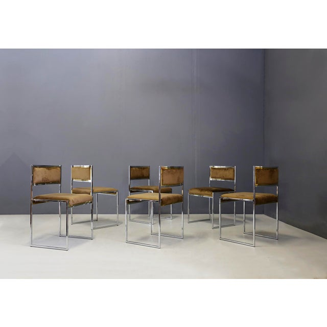 Willy Rizzo Set of Six MidCentury Chair in Brass and Chamois, 1960s For Sale - Image 9 of 9