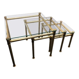 1960s Italian Mid-Century Modern Tommaso Barbi Style Brass and Glass Italian Nesting Tables - Set of 3 For Sale