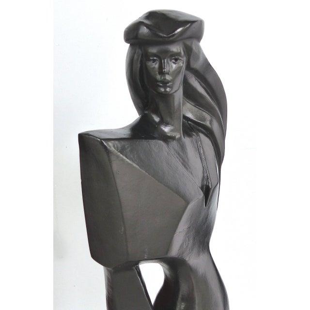 Black Vintage Art Deco Style Female Figure Statue For Sale - Image 8 of 9