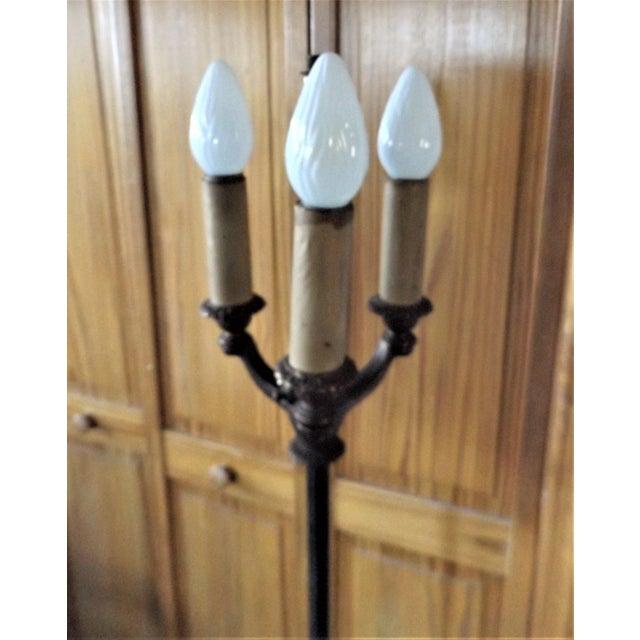 Metal 1930s Vintage Victorian Iron & Brass Floor Lamp For Sale - Image 7 of 11