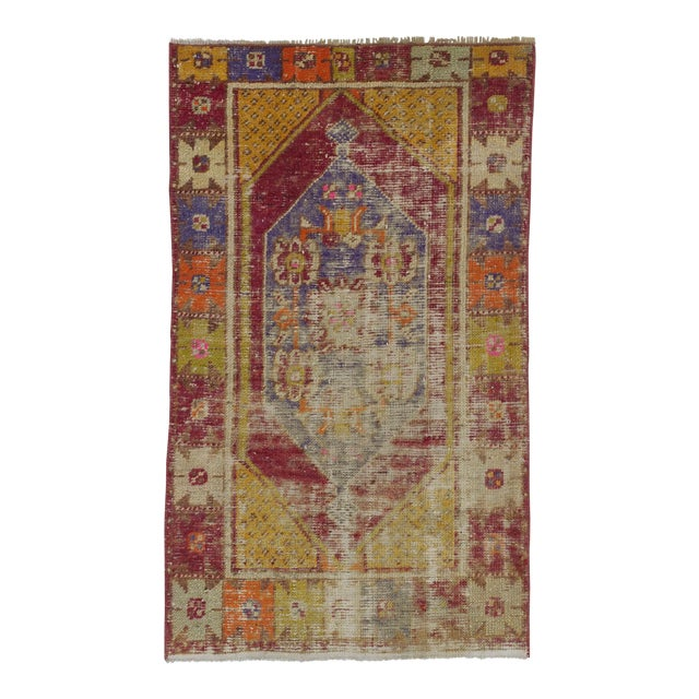 """Vintage Distressed Colorful Small Turkish Rug - 28"""" X 48"""" For Sale"""