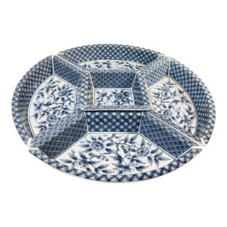 Traditional Japanese Porcelain Set of 5 Hors d'Oeuvre Trays Platter 5 Pieces Blue and White For Sale