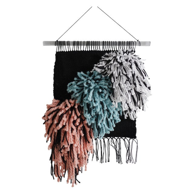 Handwoven Black, Turquoise & Light Coral Wall Hanging - Image 1 of 3