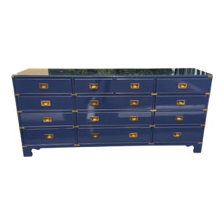 Campaign Style 12 Drawer Dresser by Heritage For Sale