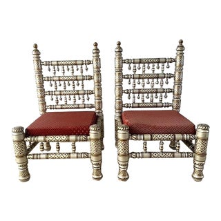 Pair of Hand Painted Decorated Indian Wedding Chairs -