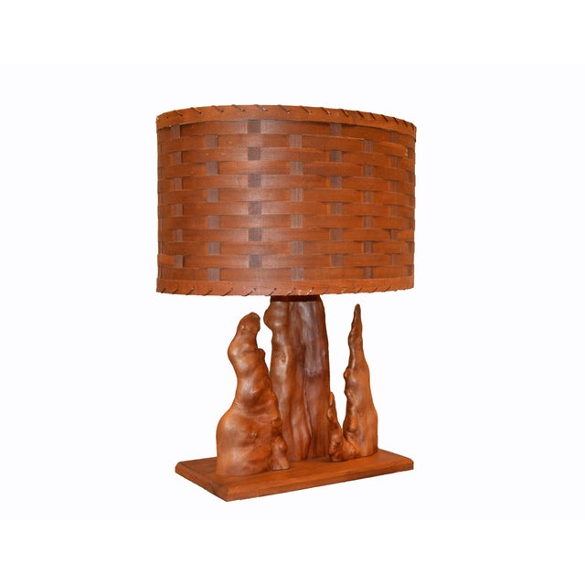 Contemporary Organic Modern Sculptural Driftwood Table Lamp & Woven Basket Shade Walnut Base For Sale - Image 3 of 10