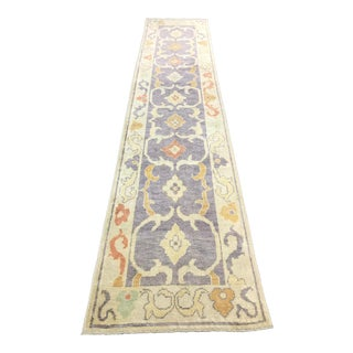 1990s Turkish Oushak Runner Rug - 3′ × 12′8″ For Sale