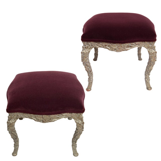 20th Century Traditional Wood Carved Silver Gilt Painted Stools - a Pair For Sale - Image 13 of 13