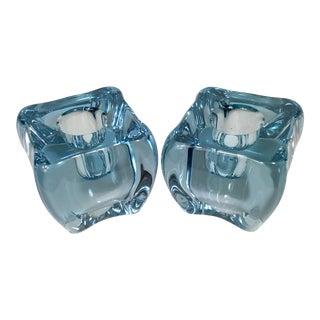Vintage Swedish Blue Art Glass Skruf Sweden Taper Candle Holders - a Pair For Sale
